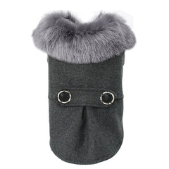 Dog Clothes - PET BONITO: Winter Dog Jacket With Woolen Fur Collar ~ Warm Thick Pet Clothes For Small Cat Puppy