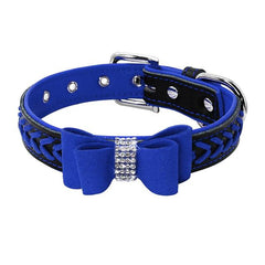 Dog Collars & Harness - Bling Rhinestone Dog Bow Knot Collar ~ Padded Leather Pet Braided Collar