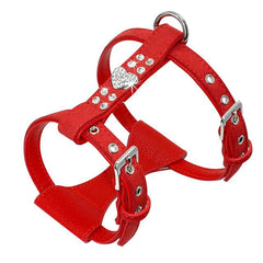 Dog Collars & Harness - Bling Rhinestone Puppy Dog Harness ~ Leather Padded Chihuahua Vest