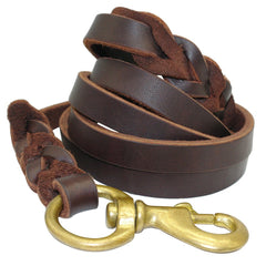 Dog Collars & Harness - Braided Real Leather Dog Leash; K9 Walking Training Leads For German Shepherd;