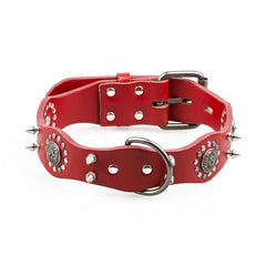 Dog Collars & Harness - Dog Leather Spiked Collar ~ Pet Retro Style Studded For Medium Large Breeds