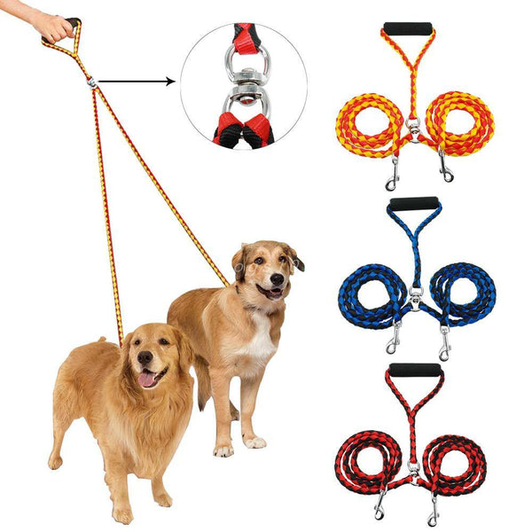 Dog Collars & Harness - Double Dog Leash; Two Dogs 47 Inch Braided Tangle Free Dual Leash; Coupler For Walking And Training; 3 Colors