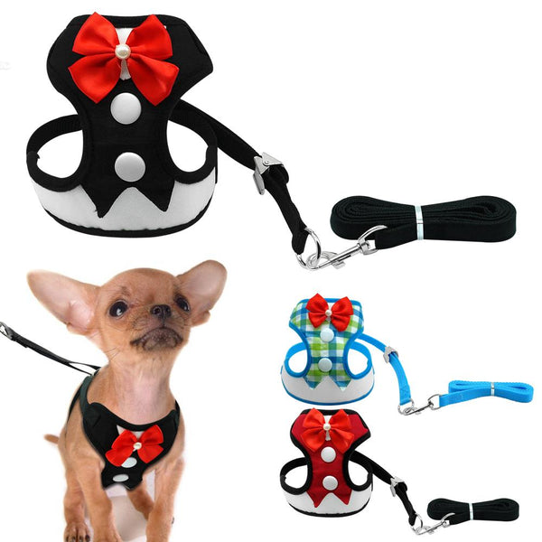 Dog Collars & Harness - Elegant Bow Dog Harness ~ Puppy Vest ~ Tuxedo Leash Set For Chihuahua