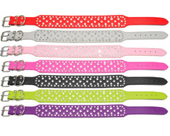 Dog Collars & Harness - Jewelled Rhinestone Dog Collar  ~ Crystal Studded PU Leather Collar
