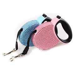 Dog Collars & Harness - Pet Retractable Rhinestone Leash; Blue & Pink Bling Crystal Dog Puppy Lead Leash;