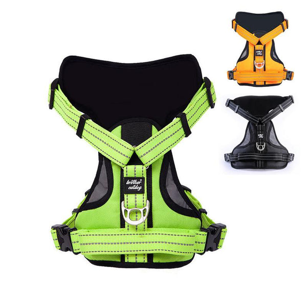 Dog Collars & Harness - Reflective Large Dog Harness; Strong Pet Training Vest; Big Dog Leash Collar;