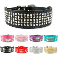 Dog Collars & Harness - Rhinestone Leather Dog Collar ~ 5 Rows 8 Colors 2 Inch Wide