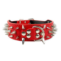 Dog Collars & Harness - Spiked Leather Dog Collar; Wide Cool Sharp Studded Leather Dog Collar; For Medium Large Breeds Pitbull Mastiff Boxer Bully