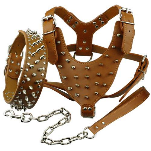 Dog Collars & Harness - Spiked Studded Leather Dog Harness ~ Pet Pitbull Collar & Leash Set