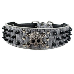 Dog Collars & Harness - Spiked Studded PU Leather Dog Collar ~ Medium And Large Dogs ~ Pitbull Boxer Mastiff