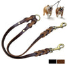 Genuine Leather Braid Double Leash  - Anti-rust -  Strap For 2 Dogs - Black Brown