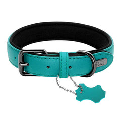 Genuine Leather Dog Collar - Candy Colors - Padded Adjustable