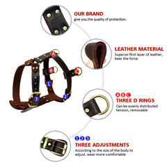 Genuine Leather Dog Harness Brown Walking Training Harnesses 23''-34.5'' Adjustable Chest Large Dogs Pitbull Alaskan Malamute