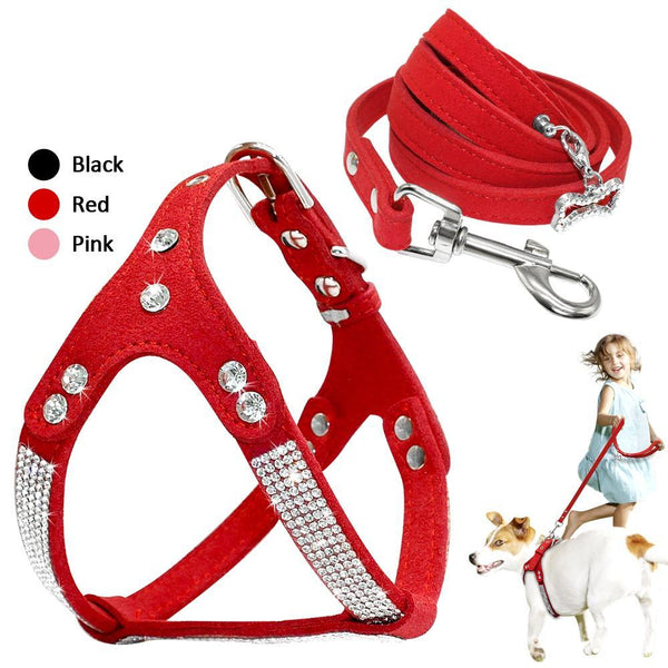 Suede Leather Dog Harness Leash Set ~ Adjustable Rhinestone Leash For Small Medium