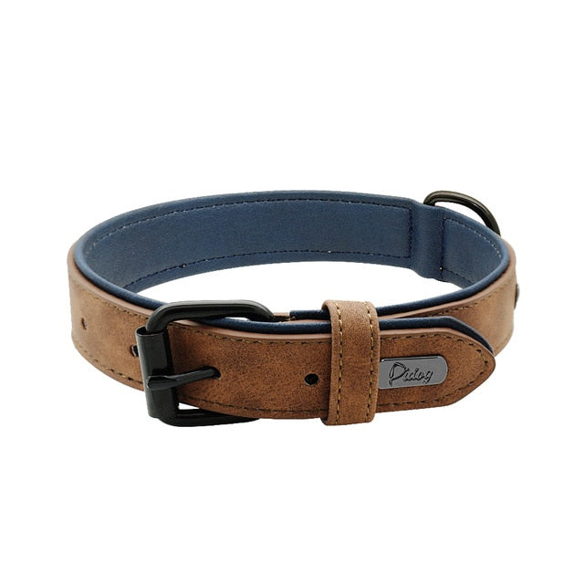 Soft Leather Dog Collars -  Padded and Adjustable - 5 Colors - 5 Sizes For Small Medium Large Dogs