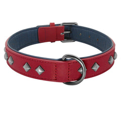 Spiked Studded Leather Collar - Adjustable Padded Rivet Dog Collars For Medium Large Dogs German Shepherd