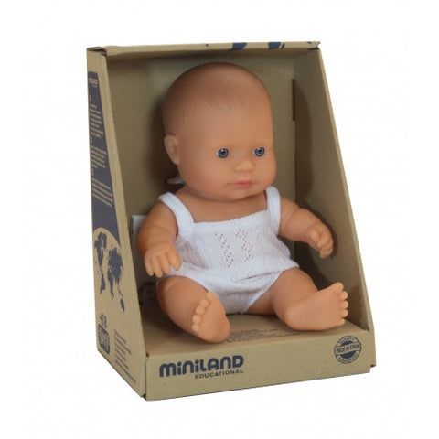 Miniland Doll - Anatomically Correct Baby, Caucasian Girl, 21cm (Dressed)