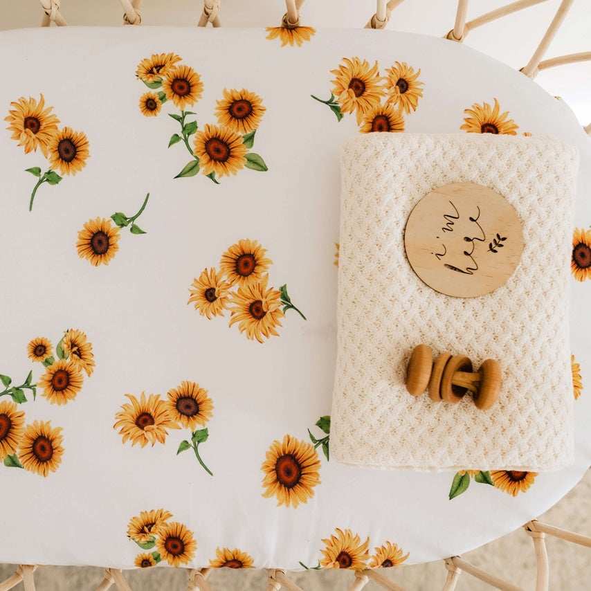 Bassinet Sheet & Change Pad Cover - Sunflower