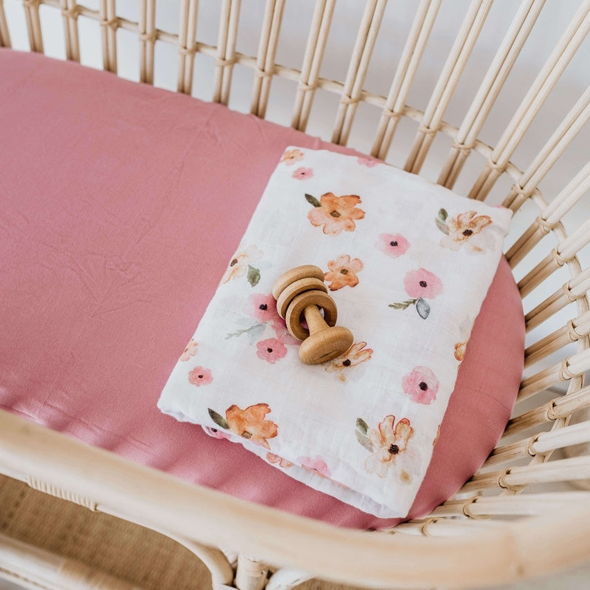 Bassinet Sheet & Change Pad Cover- Rouge Pink