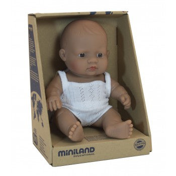 Miniland Doll- Anatomically Correct Baby, Latin American Girl Boxed, 21cm
