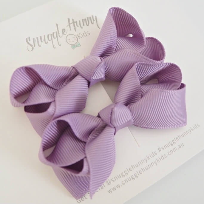 Bow Clip Small Piggy Tail Pair - Lilac
