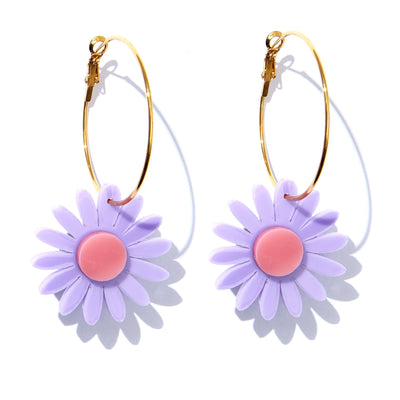 Daisy Earrings / Mauve with Bright Pink