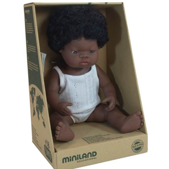 Miniland Doll - Anatomically Correct Baby, African Girl, 38cm