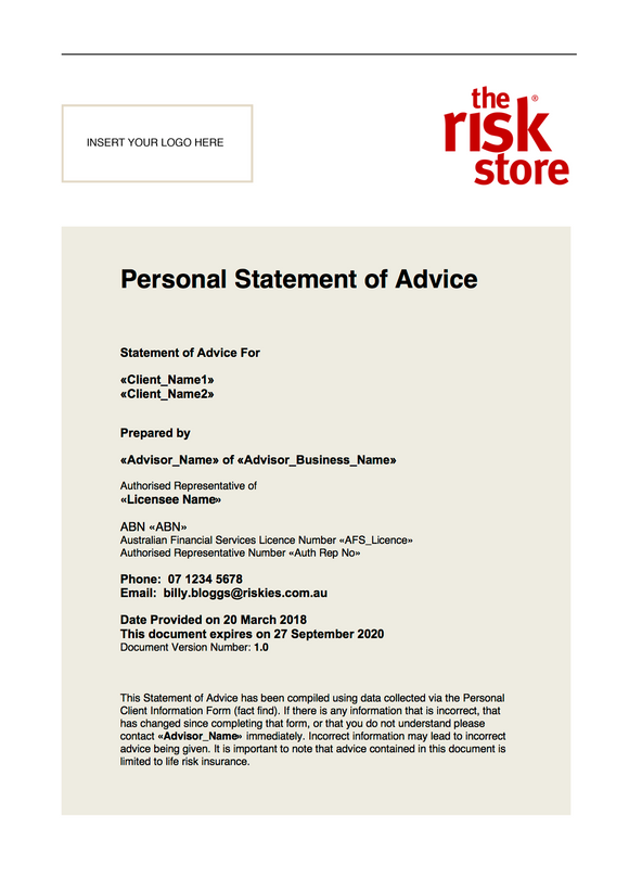 Personal Statement of Advice Template