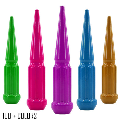 "1 pc 1/2-20 custom color spike spline lug nuts 4.5"" tall powder coated durable coating prismatic powder"