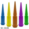 "24 pc 14x2 custom color spike spline lug nuts 4.5"" tall powder coated durable coating prismatic powder"
