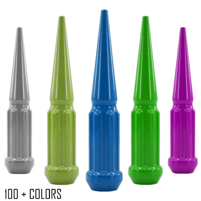 "1 pc 9/16-18 custom color spike spline lug nuts 4.5"" tall powder coated durable coating prismatic powder"