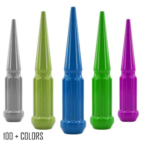"32 pc 9/16-18 custom color spike spline lug nuts 4.5"" tall powder coated durable coating prismatic powder"