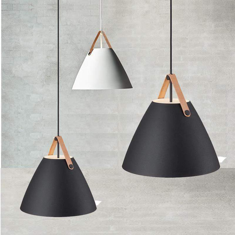 Nur (Black or White) |  Leather Strap Nordic Pendant Light - Home Cartel ®