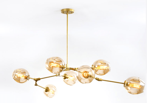Vanja 7 B | Gold w/ Amber Glass Luxe Chandelier - Home Cartel ®