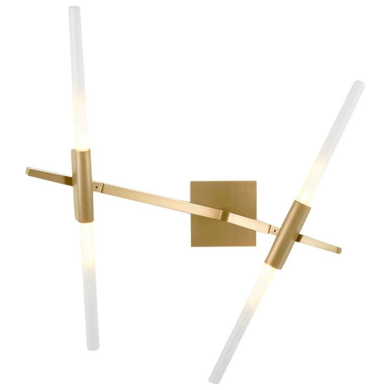 Vita 2 | Gold w/ Frosted Glass Wall Sconce - Home Cartel ®