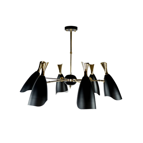 Malaga 6 Black | Mid-Century Chandelier - Home Cartel ®