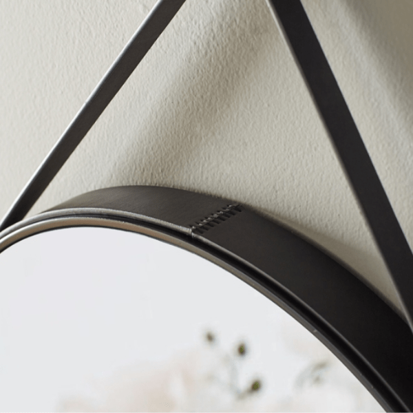 Bergen Leather Strap Mirror | 50cm - Home Cartel ®