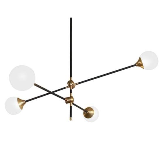 Nola 4 A | Black w/ Frosted Glass Balls Modern Chandelier - Home Cartel ®