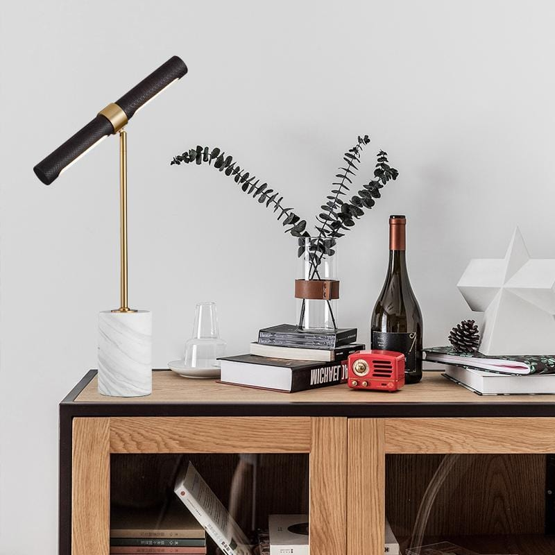 Lafayette | Leather with Marble Base Modern Table Lamp