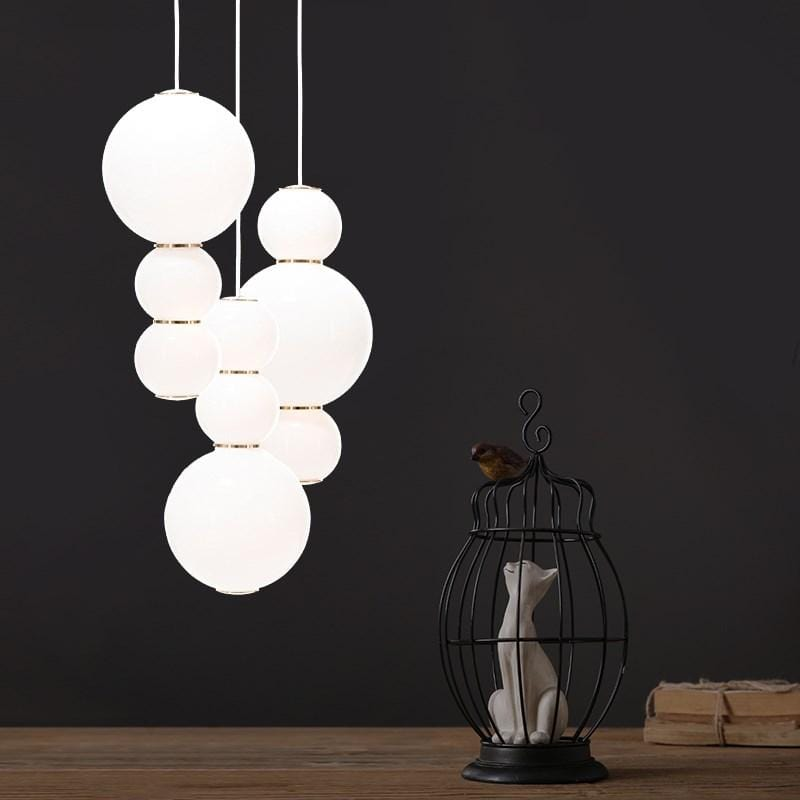 Iris A | Glass Sphere with Gold Details Pendant Light