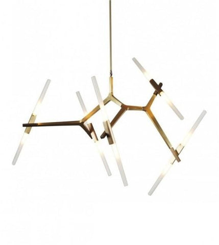 Vita 10 | Gold w/ Frosted Glass Chandelier - Home Cartel ®