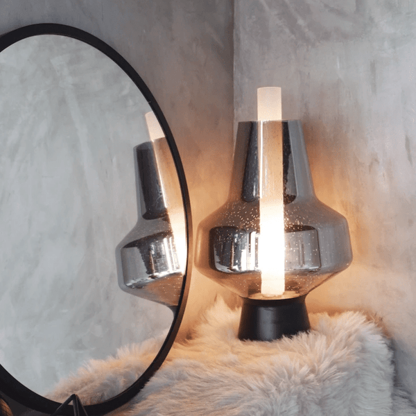 Brielle Metallic Grey | Glass Table Lamp - Home Cartel ®