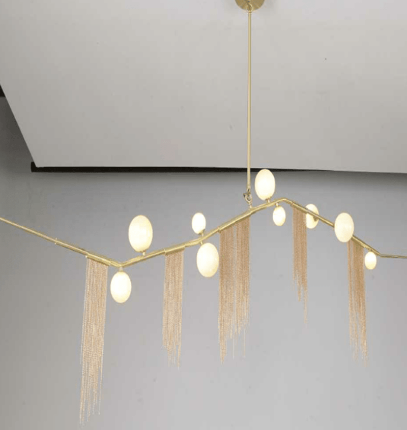 Lindsey 9 | Frosted Glass & Gold Fringe Chandelier - Home Cartel ®