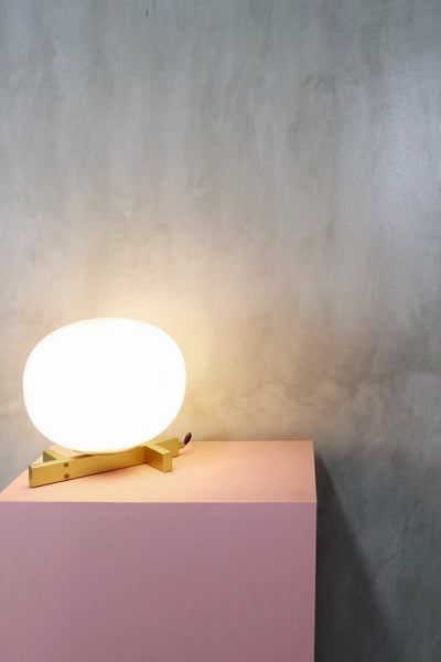 Arendal | Matte Gold x Frosted Glass Table Lamp - Home Cartel ®