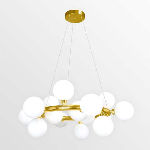 Cara | Gold with Frosted Glass Chandelier - Home Cartel ®
