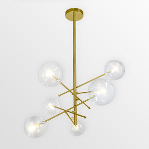 Liv M & L Glass | Gold w/ Clear Bubble Glass Chandelier - Home Cartel ®