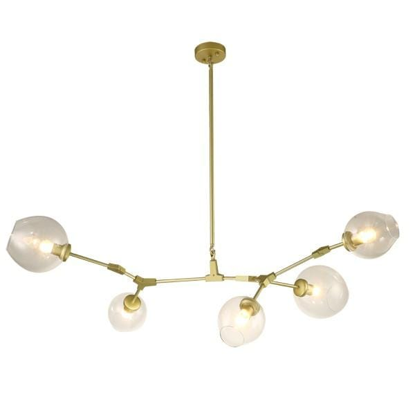 Vanja 5 | Gold w/ Clear Glass Luxe Chandelier - Home Cartel ®