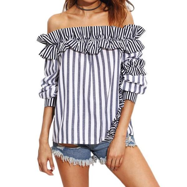 Striped Off The Shoulder Blouse