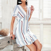 stripe ruffle summer dress