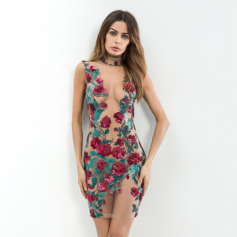 """They'll Know It"" Sequined Floral Dress"